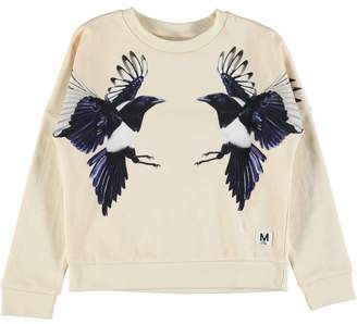 Molo Marigold Sweat Shirt Mirror Magpies Birds