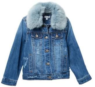 Splendid Faux Fur Collar Denim Jacket (Toddler Girls)