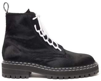 Proenza Schouler Lace Up Calf Hair Ankle Boots - Womens - Black