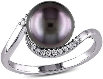 FINE JEWELRY Womens 1/10 CT. T.W. 9.5M Black Cultured Tahitian Pearl Sterling Silver Cocktail Ring