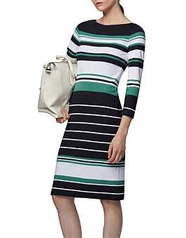 HUGO BOSS Striped Midi Dress In Stretch Jersey With Cord Belt