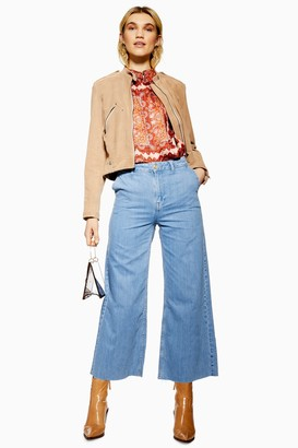 Topshop Bleach Lightweight Crop Jeans