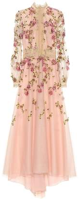 Costarellos Floral-embroidered tulle gown