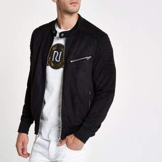 River Island Black faux suede racer jacket