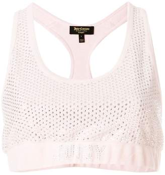 Juicy Couture (ジューシー クチュール) - Juicy Couture Swarovski embellished velour crop top