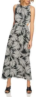 1 STATE 1.STATE Palm-Print Tie-Back Maxi Dress