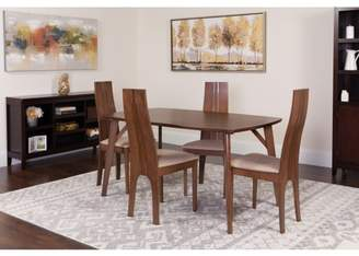 Flash Furniture Kensington 5 Piece Walnut Wood Dining Table Set with Padded Wood Dining Chairs