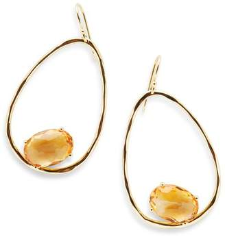 Ippolita Rock Candy Hammered 18K Yellow Gold Suspended Stone Oval Drop Earrings