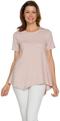 Logo By Lori Goldstein LOGO Lounge by Lori Goldstein French Terry Asymmetric Hem Top with Pocket