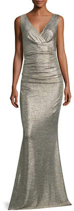 Talbot Runhof Sleeveless V-Neck Ruched Glitter Jersey Evening Gown