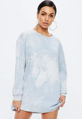 Missguided Blue Marble Wash Sweater Dress