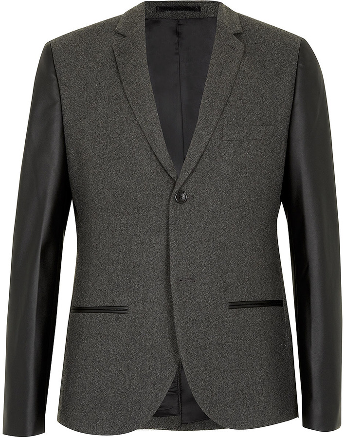 Topman Grey Heritage Fit Blazer With Leather Look Sleeves