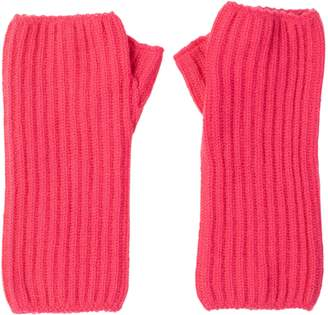 Johnstons of Elgin Hot Pink Ribbed Womens Cashmere Wristwarmers