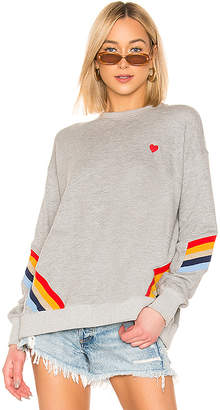 Spiritual Gangster Heart Stripe Crew Neck Sweatshirt