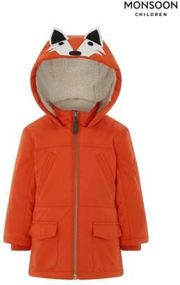 Monsoon Boys Orange Fox Parka Coat - Orange