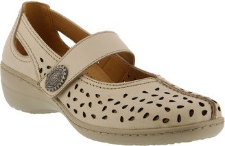 Spring Step Perforated Leather Mary Janes - Lorona