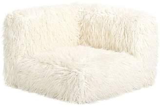 Pottery Barn Teen Cushy Lounge Corner Chair, Ivory Furlicious Faux-Fur, QS UPS