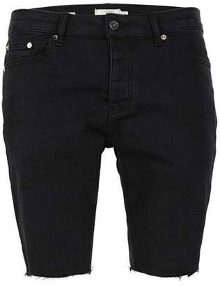Topman Mens Washed Black Raw Edge Stretch Skinny Denim Shorts