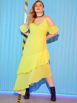 Shein Plus Open Shoulder Asymmetrical Hem Dress