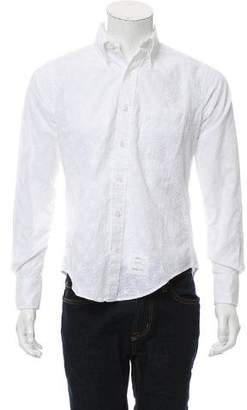Thom Browne Floral Embroidered Button-Up Shirt