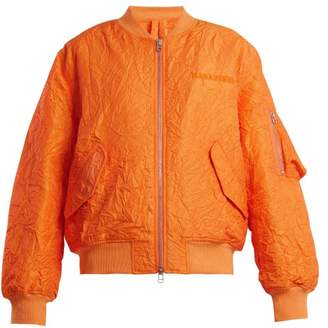 MHI Logo Embroidered Crinkled Bomber Jacket - Womens - Orange