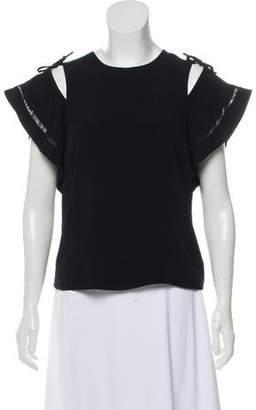 Rebecca Taylor Cold-Shoulder Short Sleeve Top