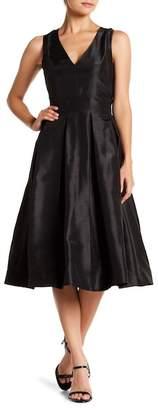 Gabby Skye Pleated V-Neck Sleeveless Dress