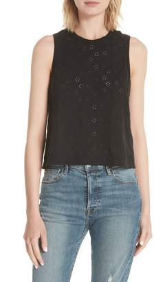 Rebecca Taylor Linen Cotton Eyelet Tank Top