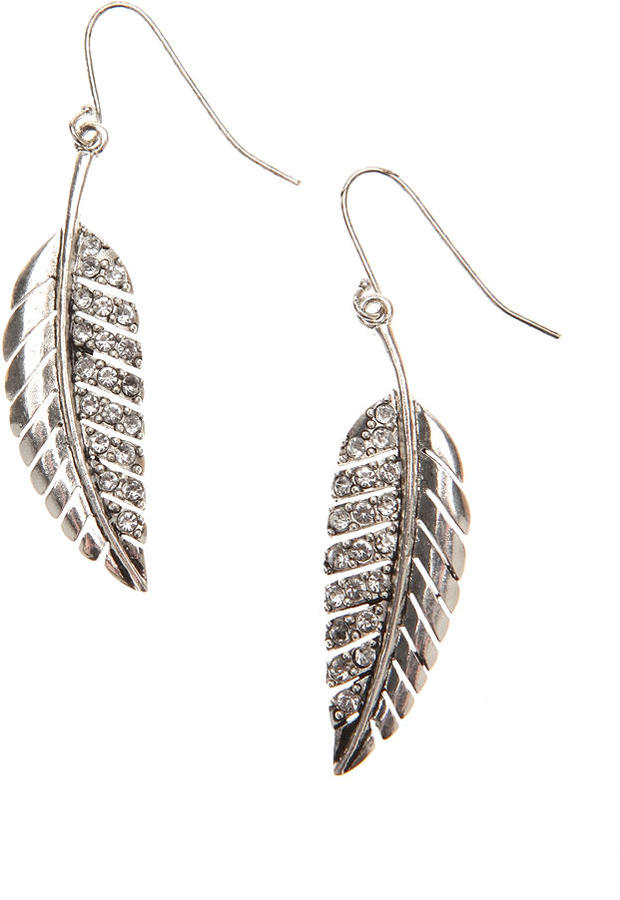 Leaf and Rhinestone Drop Earrings