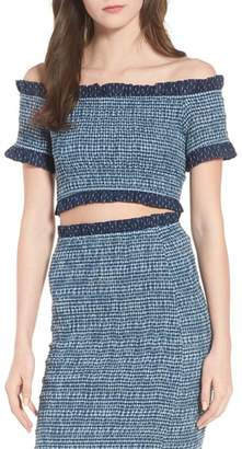 Tularosa Smocked Off the Shoulder Kylie Crop Top