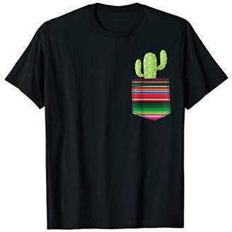 Cactus Blanket Pocket Serape Mexican Fiesta Party T-Shirt