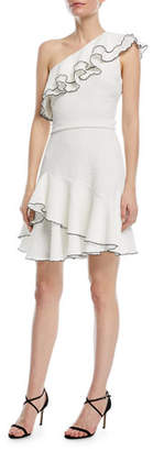 Halston One-Shoulder Ruffle Mini Dress
