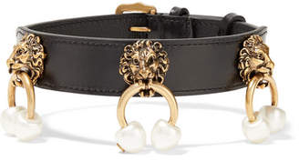 Leather, Gold-tone And Faux Pearl Choker - Black