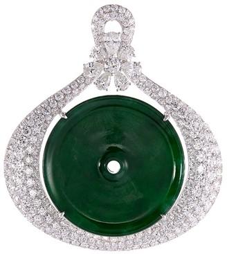 LC Collection Jade Diamond jade 18k gold disc pendant