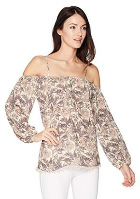 Ella Moon Women's Payslee Cold Shoulder Long Sleeve Placement Print Top