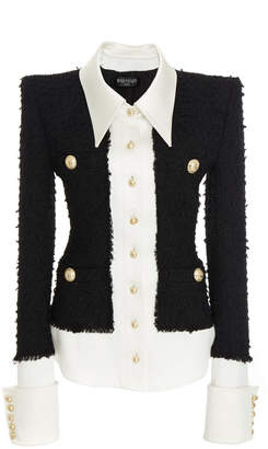 Balmain Contrast Satin Tweed Wool-Blend Jacket