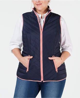 Charter Club Plus Size Contrast-Trim Vest