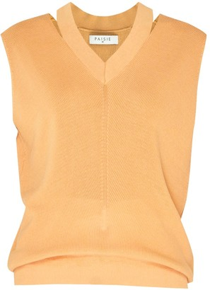 Paisie V-Neck Sleeveless Top With Cut Out Neck In Orange