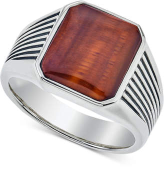 Esquire Men's Jewelry Red Tiger's Eye (14 x 12mm) Ring in Sterling Silver