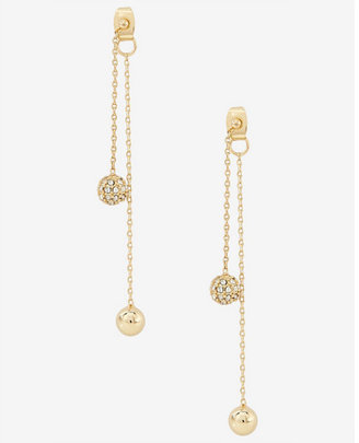 Express Fireball And Metal Bead Dangle Earrings $19.90 thestylecure.com
