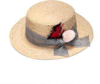 Justine Hats Feather & Straw Boater Hat
