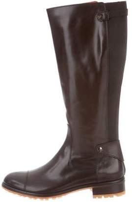 Santoni Leather Knee-High Boots