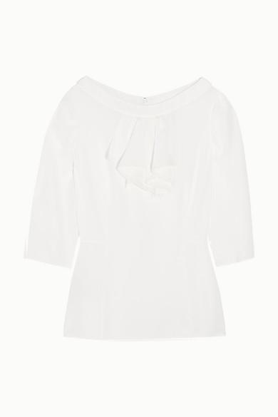 Prada - Ruffled Silk Crepe De Chine Top - White