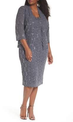 Alex Evenings Sequin Lace Cocktail Dress & Jacket