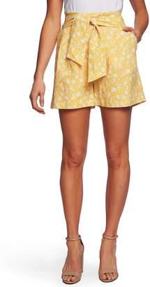 CeCe Whispering Vines Linen Blend Shorts