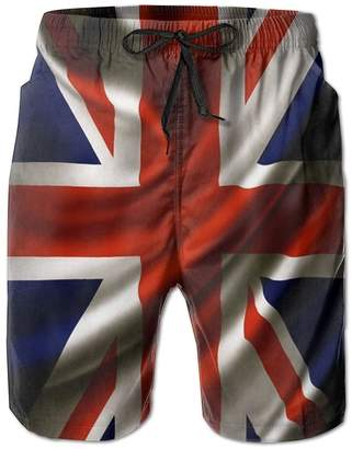 0a1e405bd2ed1 Lisang Mens Beach Surf Boardshorts Quick Dry England Flag Swim-Trunks with  Pocket