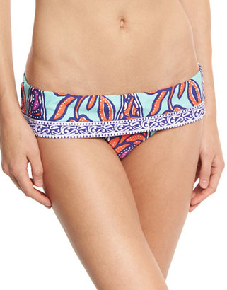 Trina Turk Balinese Batik Fold-Over Swim Bottom, Multicolor $92 thestylecure.com