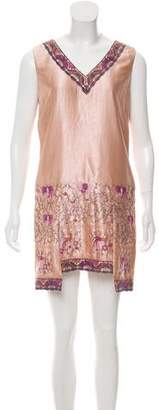 Anna Sui Embroidered Mini Dress
