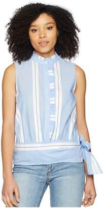 Vince Camuto Sleeveless Ruffle Front Tie Waist Yarn-Dyed Stripe Shirt Women's Blouse