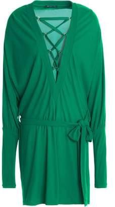 Balmain Lace-Up Crepe Mini Dress